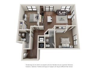 301.2D Floor Plan Layout at The George & The Leonard, Atlanta, GA