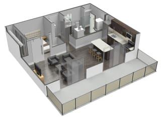1 Bed 1 Bath Floor Plan at Spoke Apartments, Georgia, 30307