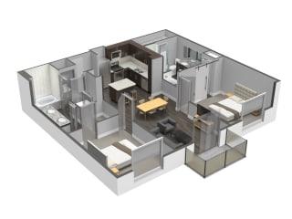 Two Bed Two Bath Floor Plan at Spoke Apartments, Atlanta, Georgia