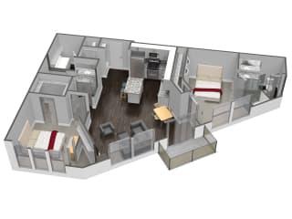 2 Bedroom 2 Bathroom Floor Plan at Spoke Apartments, Atlanta