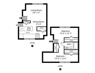 Channel Square Apartments 2 Bedroom Townhome Floor Plan