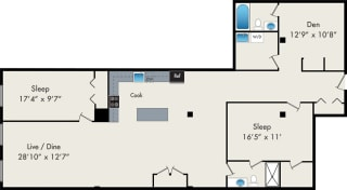 Two-Bedroom Loft Floor Plan at 119 N Peoria St Chicago, IL 60607