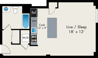Studio FLoor Plan At the Lofts at Gin Alley