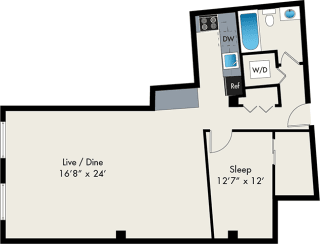 one bedroom floor plan at the lofts at gin alley