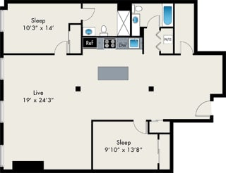 Lofts at Gin Alley 604 704 2BR(2) Floor Plan, IL, 60607
