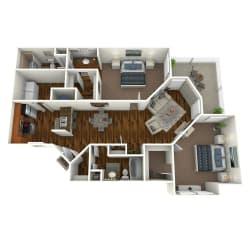 The Altitude at Blue Ash Magnolia Two Bedroom Floor Plan