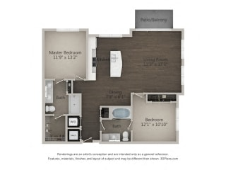 B2 2 Bed 2 Bath Floor Plan at Marq on Main, Lisle, 60532