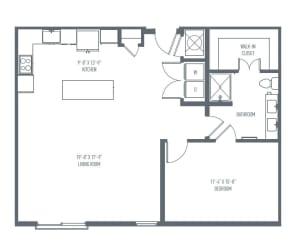 B2 Floor Plan at Union Berkley, Kansas City, Missouri