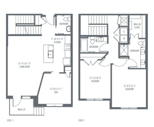 G- Townhome Floor Plan at Union Berkley, Missouri