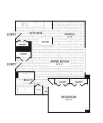 Floor Plan 1 Bedroom, 1 Bath 929 SF A4R