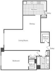 Floor Plan 1 Bedroom, 1 Bath 916 SF A6