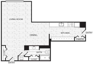 Floor Plan Studio, 1 Bath 697 SF E4R