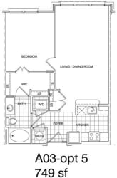 Floor Plan 1 Bedroom, 1 Bath 749 SF A3.4