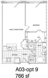Floor Plan 1 Bedroom, 1 Bath 766 SF A3.7