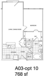 Floor Plan 1 Bedroom, 1 Bath 768 SF A3.8