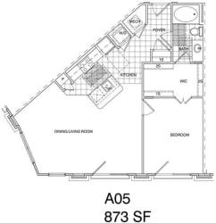 Floor Plan 1 Bedroom, 1 Bath 868 SF A5