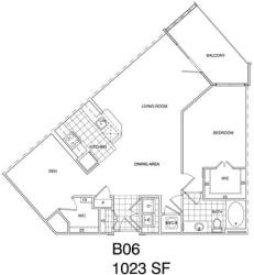 Floor Plan 1 Bedroom + Den, 1 Bath 1023 SF B6