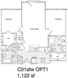 Floor Plan 2 Bedroom, 2 Bath 118 SF C1.4