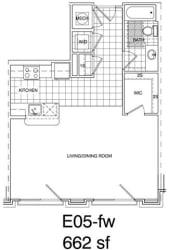 Floor Plan Studio 662 SF E2