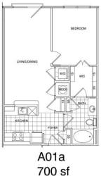 Floor Plan 1 Bedroom, 1 Bath 708 SF KA1.1