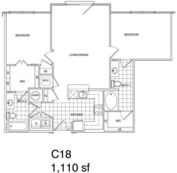 Floor Plan 2 Bedroom, 2 Bath 1110 SF KC18
