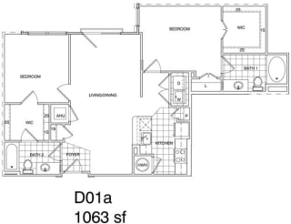 Floor Plan 2 Bedroom, 2 Bath 1063 SF KD1.1