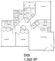 Floor Plan 3 Bedroom, 2 Bath 1352 SF KD5