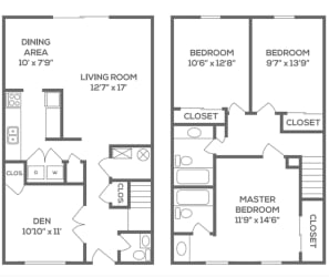 Floor Plan Three Bedroom Two and a Half Bath Townhome