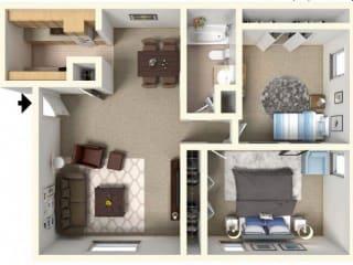 2x1_850 Floor Plan| The Boulders