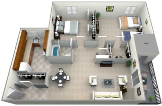3D floorplan for 2 bed 1 bath 900sf, at 101 North Ripley Apartments, Alexandria, Virginia