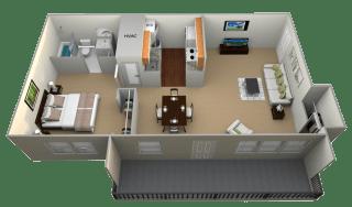 1 Bedroom 1 Bathroom II floorplan