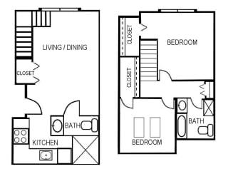 Floor Plan 2 Bed - With Extra Half Bath