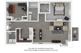 Apollo 1x1 floor plan at The Manhattan Tower and Lofts, Denver, CO