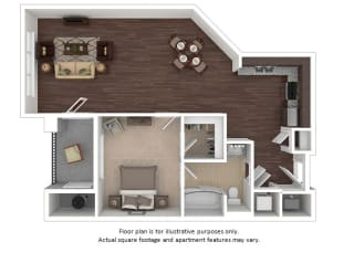Barclay 1x1 floor plan at The Manhattan Tower and Lofts, CO, 80202