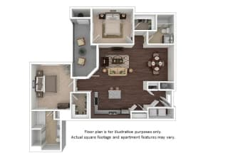 Chandler 2x2 floor plan at The Manhattan Tower and Lofts, CO, 80202