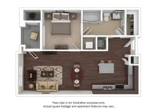 Dylan 1x1 floor plan at The Manhattan Tower and Lofts, Colorado, 80202