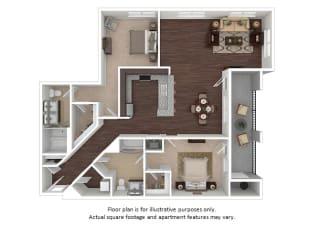 Flatiron 2x2 floor plan at The Manhattan Tower and Lofts, Colorado, 80202