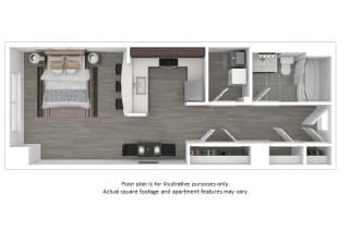 Hudson floor plan at The Manhattan Tower and Lofts, 1801 Bassett Street, 80202