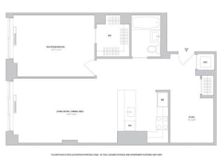 1BR Den 1Bth - 2 Floorplan at The Ashley