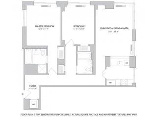 2BR 2Bth - 1 Floorplan at The Ashley