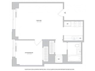 Junior 1BR - 2 Floorplan at The Ashley