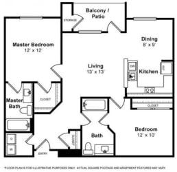 Dumbarton 2 Bedroom 2 Bath Floorplan at Allegro at Jack London Square, 240 3rd Street, Oakland, 94607