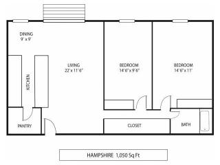 Lou Park Apartments in St. Louis Park, MN 2 Bedroom 1 Bathroom Floor Plan