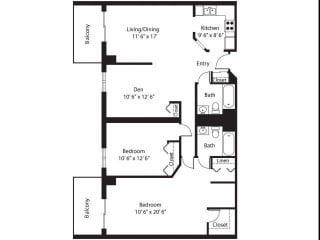 Vernon Terrace of Edina in Edina, MN 55+ Community 2 Bedroom 12Bath Plus Den