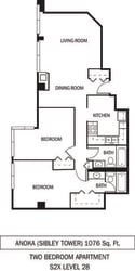 Anoka Floor Plan Galtier Towers Apartments in Lowertown, St. Paul, MN 2 Bedroom 2 Bath Apartment