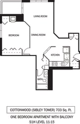 Galtier Towers Apartments in Lowertown, St. Paul, MN 1 Bedroom 1 Bath Apartment Cottonwood Floor Plan