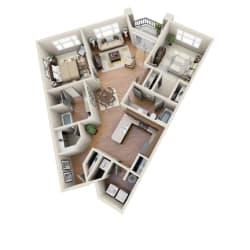 The Baja Floor Plan at LangTree Lake Norman Apartments, North Carolina