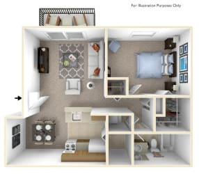 1-Bed/1-Bath, Orchid Floor Plan at Stone Ridge, Wixom, 48393