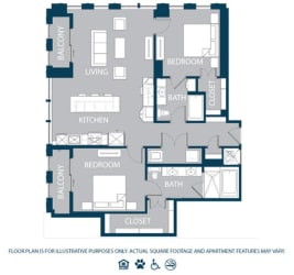 Floorplan at The Jordan, 2355 Thomas Ave, Dallas, TX 75201