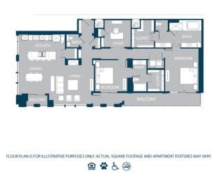 Floorplan at The Jordan, 2355 Thomas Ave, Dallas